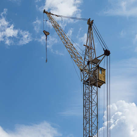 Tower Crane Top, Load Boom, Control Cabin, Pulleys and Cables, Hook Suspension and Load Slings with Hooks