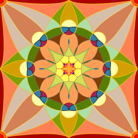 Seamless, Vector Abstract Image. Symmetrical Stylized Yellow-Red Pattern in Muted Tones. Application in Design Possible