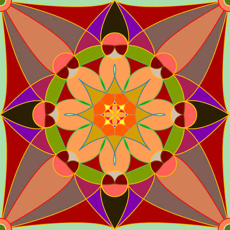 Seamless, Vector Abstract Image. Symmetrical Stylized Bright Yellow-Red Pattern. Application In Design Possible