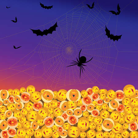 Vector Image. Halloween, Bats and Spider Gravitate Towards Their Pumpkin Friends for Their Annual Celebration