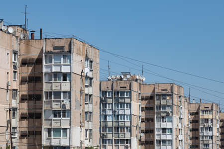 High-Rise Buildings in One of the Residential Areas of the City of Odessa. A Large Number of Satellite Dishes Are Installed On Roofs and Balconies