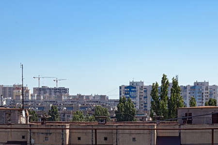 Bird's Eye View of One of the Residential Areas of Odessa. The Photo Shows the Roofs of Multi-Storey Buildings, A New Building and Lifting Tower Cranes