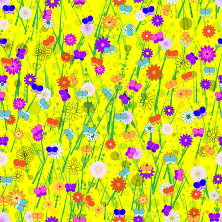 Seamless, Vector Abstract Image of Stylized Butterflies, Flowers and Grass On a Yellow Background. Application in Design Possible
