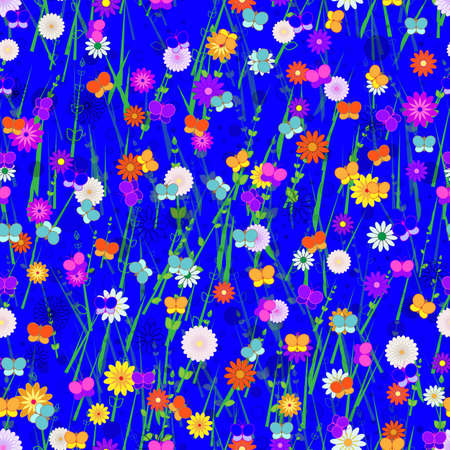 Seamless, Vector Abstract Image of Stylized Butterflies, Flowers and Grass On a Bright Blue Background. Application in Design and Textiles Possible