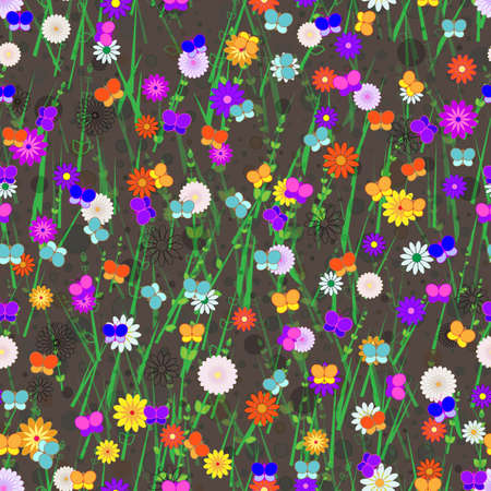 Seamless, Vector Abstract Image of Stylized Butterflies, Flowers and Grass On a Brown Background. Application in Design and Textiles Possible