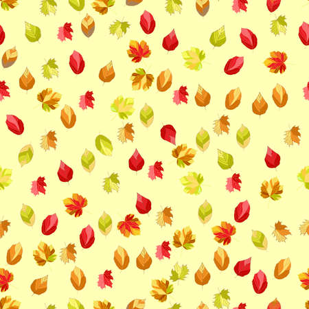 Seamless, Vector Abstract Image of Stylized Autumn Leaves Scattered On a Yellow Background. Application in Design and Textiles Possible Ilustração