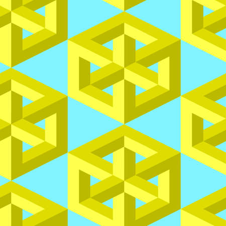 A Seamless, Vector Image of Volumetric Physically Impossible Cubes of a Golden Hue, Symmetrically Located On a Light Blue Background