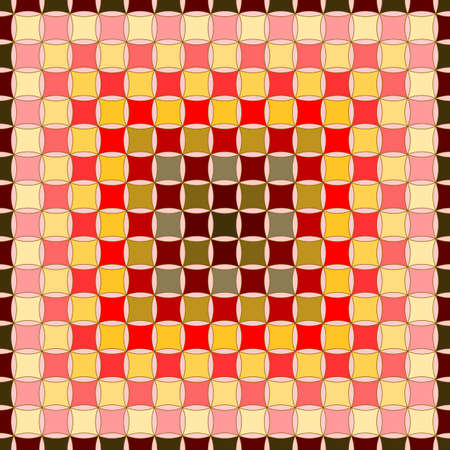 Seamless, Vector Abstract Gradient Image of Red and Yellow Squares with Dark Strokes Along the Path. Application in Design and Textiles Possible