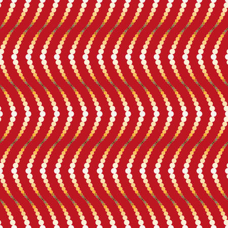Vector, Seamless, Stylized Image of Peculiar Yellow and White Vertical Waves On a Red Background