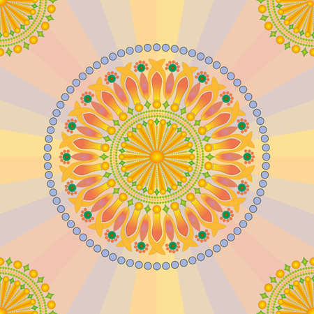 Abstract, Vector, Seamless Image Composed of Circular Patterns and Mandala in Muted Orange - Blue Colors. Can Be Applied in Design Projects Vecteurs