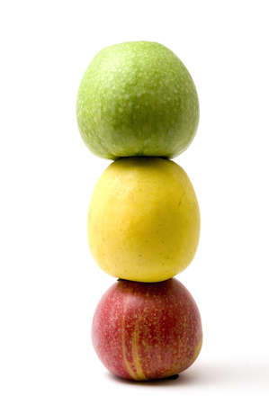 Three apples isolated on white background Stock Photo
