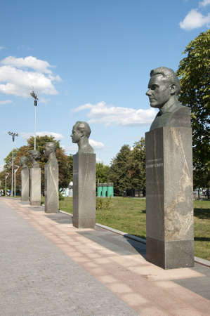 busts: Moscow,Russia - August 23, 2011: Cosmonautics museum. Cosmonauts busts. Editorial