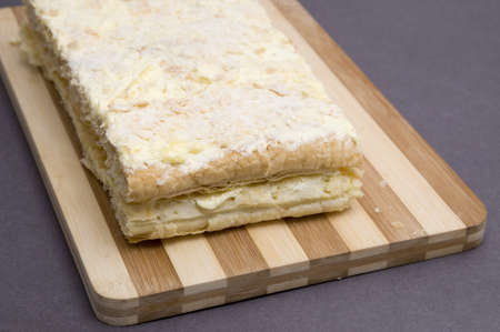napoleon dessert: home made napoleon pastry on a board