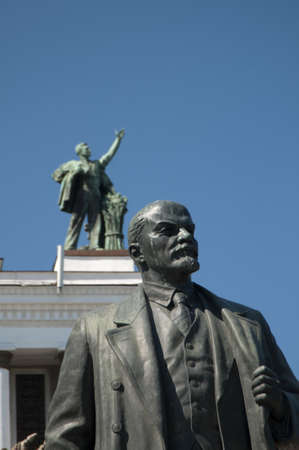 lenin: Moscow VVC, Lenin monument before main pavillion Editorial