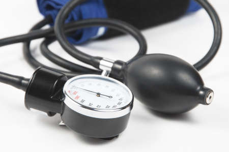Tonometer (blood pressure measuring device) on a light background Stock Photo