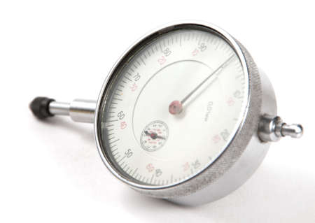 dial plate: Curvimeter close-up over a white background, angle point of wiev Stock Photo