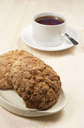oatmeal cakes and a cup of tea