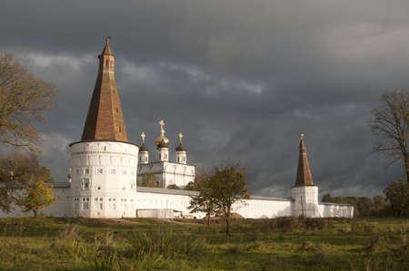 Iosifo-Volotskiy monastery - Voskresenskaya (Resurrection) and Candle (Clock) towers and Uspenskiy (Assumption,  Dormition) Cathedral