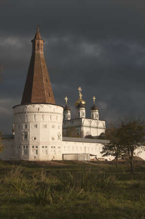 Iosifo-Volotskiy monastery - Voskresenskaya (Resurrection) tower and Uspenskiy (Assumption,  Dormition) Cathedral photo