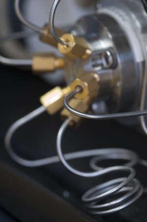 High pressure liquid pump, fragment, close-up shot, local focus Stock Photo