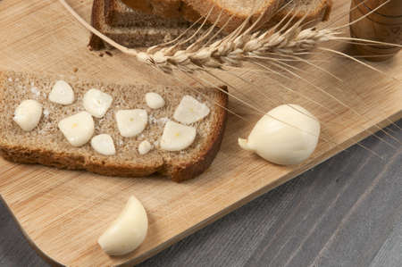 sop: Rye bread with garlic and salt - traditional appetizer