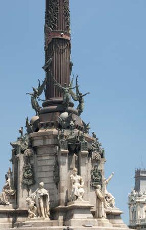 socle: Cristobal Colon memorial basement with sculptures  Barcelona, Spain,