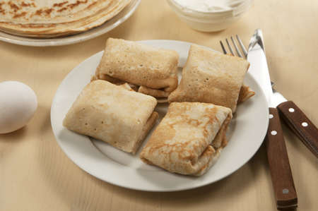 maslenitsa: Pancakes with meat filling, russian traditional food