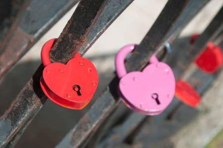 parapet: Traditional wedding lock on a bridge parapet