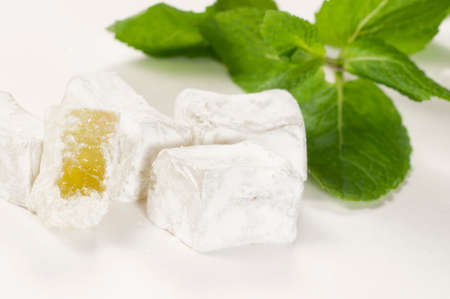 delight: Lukum (Turkish Delight) with mint, macro shot