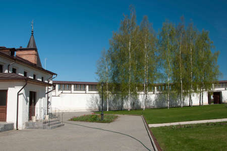 guest house: Staritsky Holy Dormition monastery, Russia, Tver region: the monastery wall and the guest house
