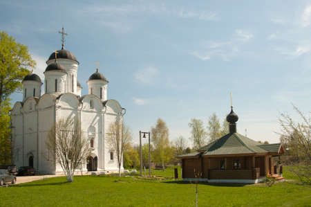 The Archangel Michael church in Mikulino village, the end of XIV century. Russia, Moscow region. Stock Photo