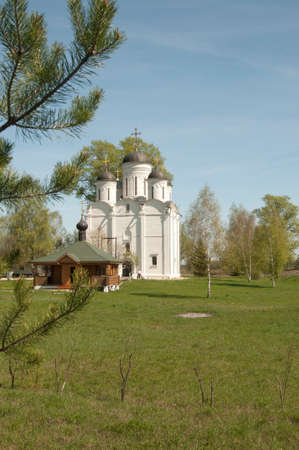 michael: The Archangel Michael church in Mikulino village, the end of XIV century. Russia, Moscow region. Stock Photo