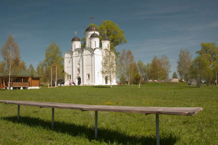 michael the archangel: The Archangel Michael church in Mikulino village, the end of XIV century. Russia, Moscow region. Stock Photo