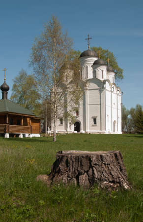 michael the archangel: The Archangel Michael church in Mikulino village the end of XIV century. Russia Moscow region.