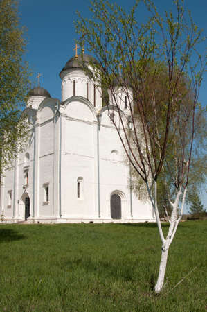 archangel: The Archangel Michael church in Mikulino village, the end of XIV century. Russia, Moscow region. Stock Photo