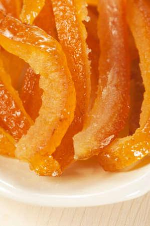 citron: Citron pieces on a plate, close up shot, local focus Stock Photo