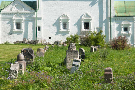 cemetary: PERESLAVL-ZALESSKY, RUSSIA, JULY 25, 2015 Trinity Danilov monastery. Church Of All Saints, cemetary