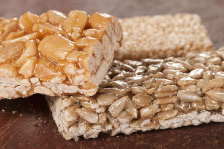 brittle: Brittle collection on a timber board, macro sho Stock Photo
