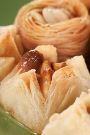 baklava: Baklava with peanut, close up shot, local focus