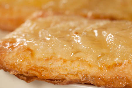 flaky: Flaky cake with pineapple, close up shot