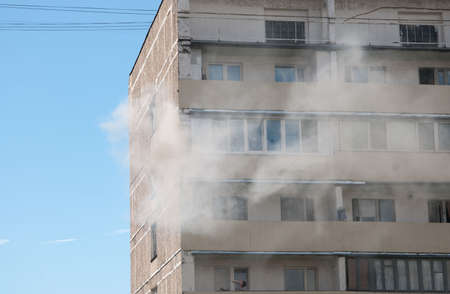 adversity: MOSCOW, RUSSIA, JULY 07. 2016: - Big fire in apartment building on Pavla Korchagina street, 7