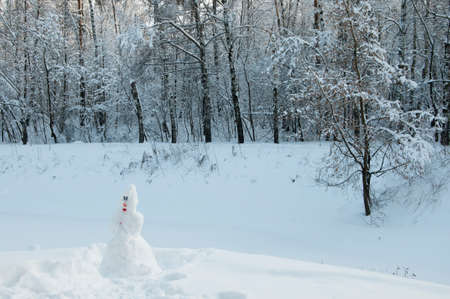 Snowman in a winter landscape at Sokolniki park in Moscow, Russia Stock Photo