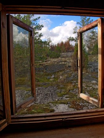 look through window: Window opened in wild northern wood of Karelia