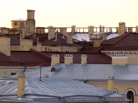 Roofs of old buildings in center of town  Stock Photo