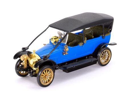 Blue retro car model on white background     Stock Photo