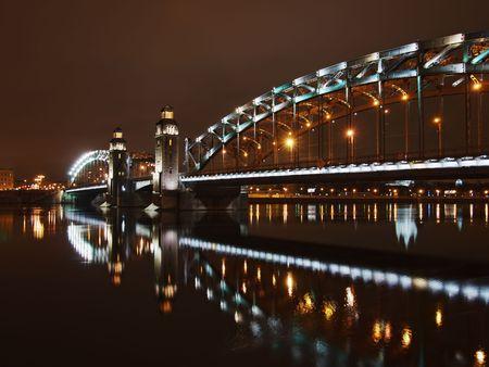 piter: Great Piter bridge in night, Saint-Petersburg, Russia