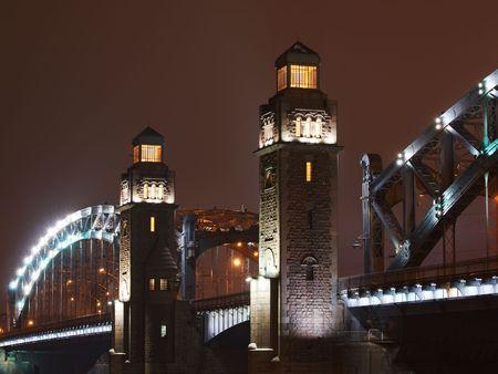 piter: Towers of Great Piter bridge in Saint-Petersburg, Russia