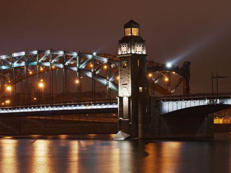 piter: Arch of Great Piter bridge in Saint-Petersburg, Russia       Stock Photo