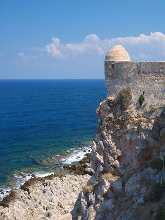 fortezza: Castle Fortezza and sea in Crete island Stock Photo