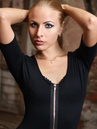 Girl in black combidress